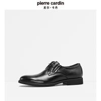 皮尔卡丹秋季新品牛皮鞋正装光面皮系带商务耐磨大底真皮上班男鞋