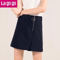 【5折价89.5】Lagogo2018春装新品优雅纯色拉链高腰显瘦半身裙女短裙开叉裙子HABB132M33