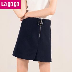 【清仓3折价89.7】Lagogo2019春装新品优雅纯色拉链高腰显瘦半身裙女短裙开叉裙子HABB132M33