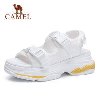 camel 骆驼松糕女鞋 内增高厚底运动平底高跟复古学生凉鞋