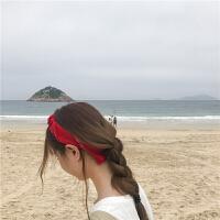 小方巾女韩国夏季 chic发带文艺复古方巾发带ins头巾百搭丝巾头饰 红色 (买二送一)