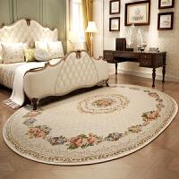 欧式地毯客厅茶几椭圆形餐桌 卧室地毯大面积可机洗美式圆毯 简欧玫瑰A5 色 160*230 椭圆