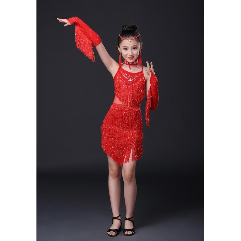 新款儿童拉丁舞裙演出服少儿女童表演比赛舞蹈服装女孩亮片流苏裙 发货周期:一般在付款后2-90天左右发货,具体发货时间请以与客服协商的时间为准