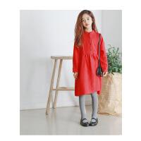 韩版童装女童立领连衣裙秋新款复古大红中大童裙