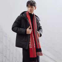 【全场2件2.5折,到手价:309.8】MECITY男装连帽短款保暖羽绒服潮流帅气