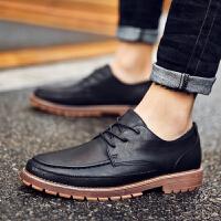 皮鞋男黑色韩版潮流正装男士商务休闲鞋英伦百搭布洛克内增高鞋子