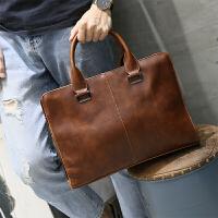 韩版休闲男包手提包男士公文包包新款单肩包男斜挎包有型 咖啡色