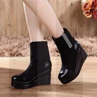 真皮坡跟松糕底短靴女弹力布中靴短筒靴厚底防水台加绒中筒靴女靴SN5131 黑色 单里