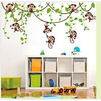可移除墙贴 儿童房幼儿园装饰贴画 绿*子倒挂树 绿色 50*70CM(没贴开尺寸)