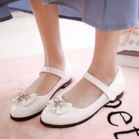 新款春季女童皮鞋可爱平底蝴蝶结公主单鞋女大童学生演出鞋