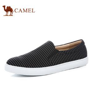 Camel骆驼夏季条纹休闲男鞋低帮鞋平底套脚帆布鞋