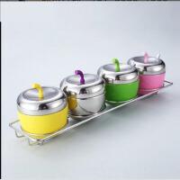 304不锈钢调味罐苹果调味瓶厨房创意 糖果色密封罐 调料盒 调味罐 6nt