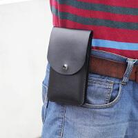 超薄手机腰包男穿皮带竖款 多功能运动腰带挂包 皮套驾驶证卡包套 大号 黑色