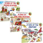 正版忙碌的一天 3册套装Richard Scarry's A Day英文原版儿童绘本 飞机场消防站 警察局 斯凯瑞金色