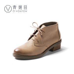 青婉田2018新款真皮小短靴女春圆头系带女靴子低跟百搭裸靴及踝靴