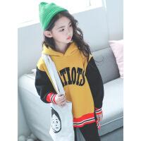 女童加绒卫衣中长款2018秋冬装新款韩版大童加厚洋气儿童连帽上衣