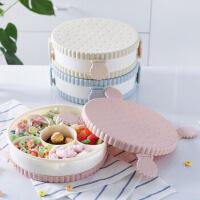 白领公社 果盘 家用日式圆形干果盘客厅简约创意水果盘塑料零食瓜子盘分格带盖密封糖果盒