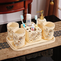 欧式陶瓷卫浴五件套浴室用品卫生间带托盘刷牙漱口杯洗漱套装套件