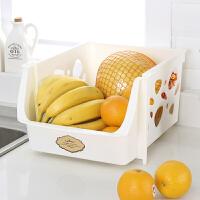 家居生活用品厨房可叠加菜篮子塑料玩具零食收纳筐蔬菜收纳篮水果储物置物架蓝