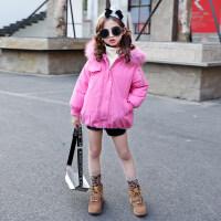 女童短款棉衣2018新款儿童时髦棉袄外套中大童韩版潮加厚保暖 玫红色
