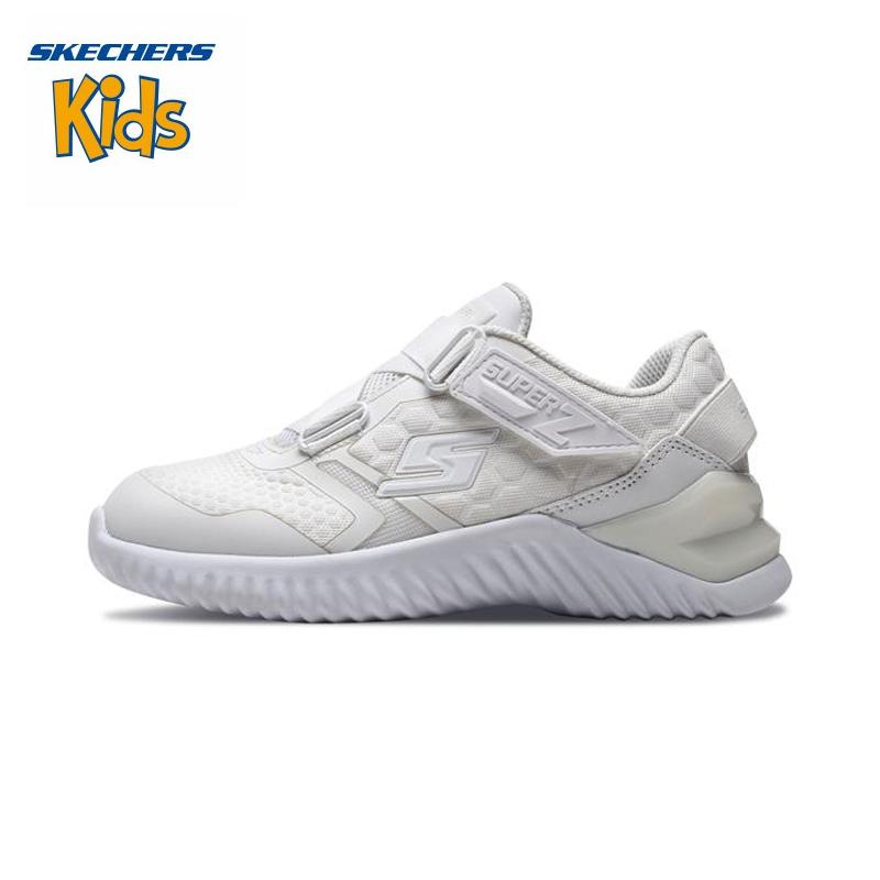 斯凯奇童鞋 (SKECHERS) 男女童鞋 新款魔术贴 Z型搭带休闲鞋 轻便运动户外鞋97755L-WHT0 白色斯凯奇秋季新款