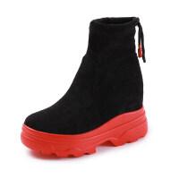 内增高短靴2018新款瘦瘦靴秋冬百搭保暖防水台女靴黑色厚底网红靴真皮