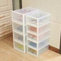 加厚塑料透明抽屉式鞋盒子男女鞋靴子高跟鞋柜简易组合收纳盒