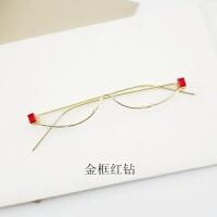 2018新品孟子坤曾舜��同款半框无镜片眼镜女镶钻绿色宝石个性装饰眼镜框男