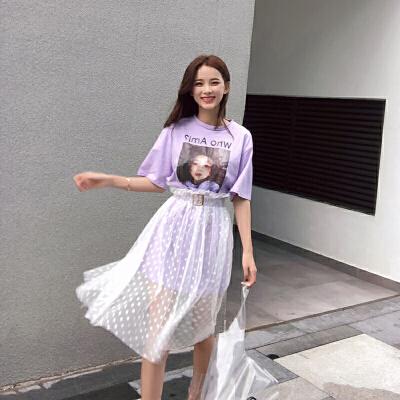 连衣裙女2018春夏装新款韩版宽松假两件网红套装chicT恤网纱裙子