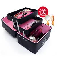多层化妆包韩版式小号简约收纳盒便携双层大容量手提化妆箱包大号 黑色 3层送镜子梳子