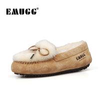 emugg豆豆鞋女冬季加绒羊皮毛一体女鞋保暖套脚蝴蝶结二棉鞋保暖