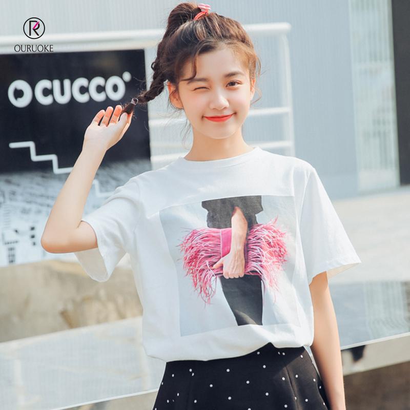 欧若珂  2018小清新白色短袖宽松韩版学生T恤女