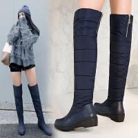 过膝雪地靴女冬季保暖加绒防水防滑羽绒靴滑雪靴女坡跟厚底长靴SN6530