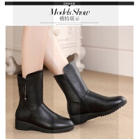冬季妈妈棉鞋平底大码中年中筒靴子真皮女老年棉靴加厚保暖防滑鞋SN2770 黑色 (厚绒) 9726