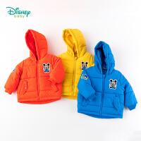 迪士尼Disney童装 男宝宝萌趣卡通棉服冬季新品三层夹棉连帽外套儿童面包服194S1166