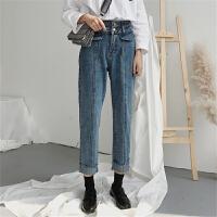 宽松牛仔裤女学生韩版学院风春装新款高腰显瘦chic直筒裤九分裤潮