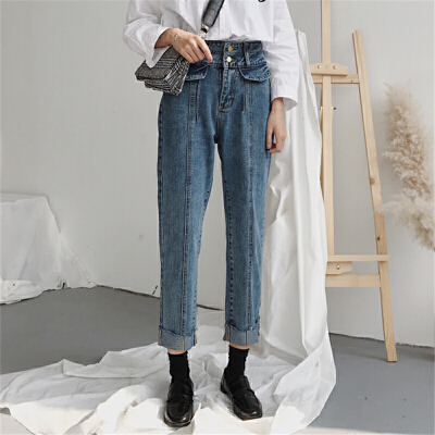 宽松牛仔裤女学生韩版学院风春装新款高腰显瘦chic直筒裤九分裤潮 发货周期:一般在付款后2-90天左右发货,具体发货时间请以与客服协商的时间为准