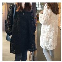 胖MM秋冬打底连衣裙长款200斤加肥加大码女装镂空蕾丝裙春装显瘦