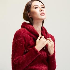 灏领衣尚秋冬加厚海马毛纯色女针织短款拉链连帽外套红色毛衣长袖