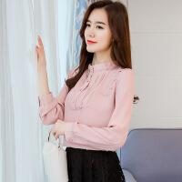 2018春装雪纺衫衬衫女长袖新款女装上衣 粉色 S