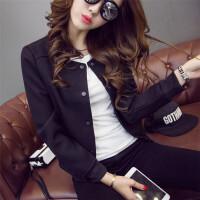 2018春秋装新款韩版大码棒球服女学生长袖夹克上衣休闲短款外套潮 黑色