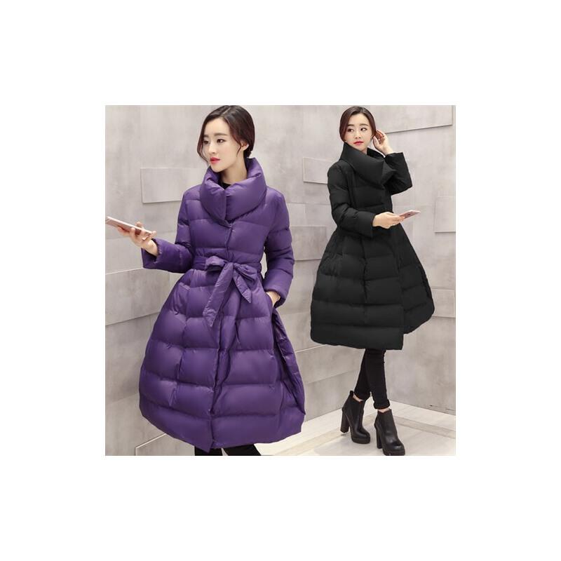 2017冬装新款系带斗篷棉衣女加厚中长款修身羽绒百搭时尚外套
