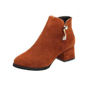 WARORWAR新品YM45-A1083冬季韩版磨砂绒反绒低跟鞋女鞋潮流时尚潮鞋百搭潮牌靴子短靴