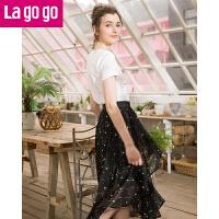 【5折价144.5】Lagogo/拉谷谷2018夏季新款不规则下摆星空图案半裙HABB203G60