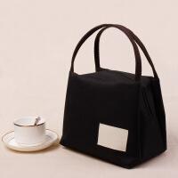 日本帆布手提包便当包保温饭盒袋牛津布妈咪饭盒包手提袋韩版防水 黑色