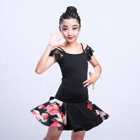 拉丁舞蹈练功服新款跳舞服装女童拉丁舞裙半身裙小孩拉丁舞表演服
