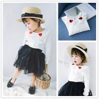 蕾丝爱心娃娃领 女童春秋衣上衣 1-5岁婴儿宝宝翻领T恤纯棉打底衫