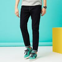 【2件2.5折到手价:61.5】美特斯邦威旗下4M牛仔裤男士秋冬黑色修身小脚裤子青年