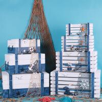 新品上市地中海风格木质做旧收纳箱玩具收纳柜家居装饰品摆件