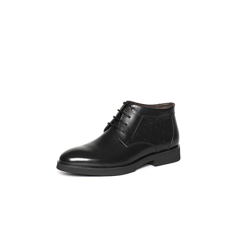 Belle/百丽冬季黑色牛皮男皮靴(绒里)4PW01DD6